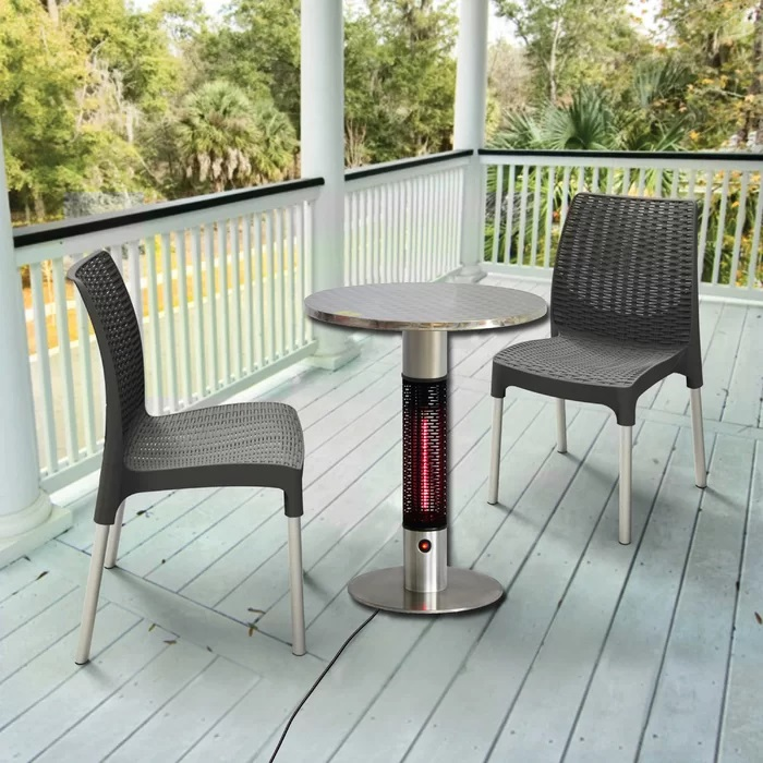 Silver Infrared 1500 Watt Electric Patio Heater With Table